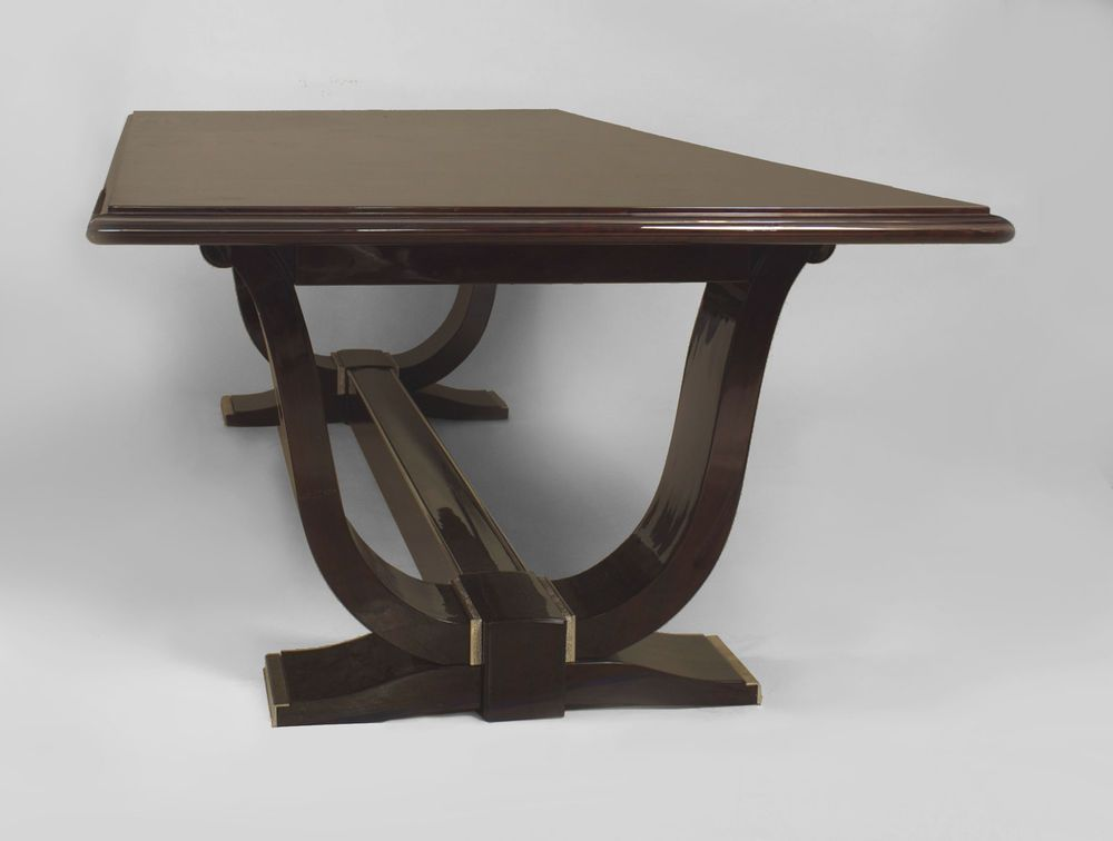 French Art Deco Rosewood Dining Table Supported By 2 U Form