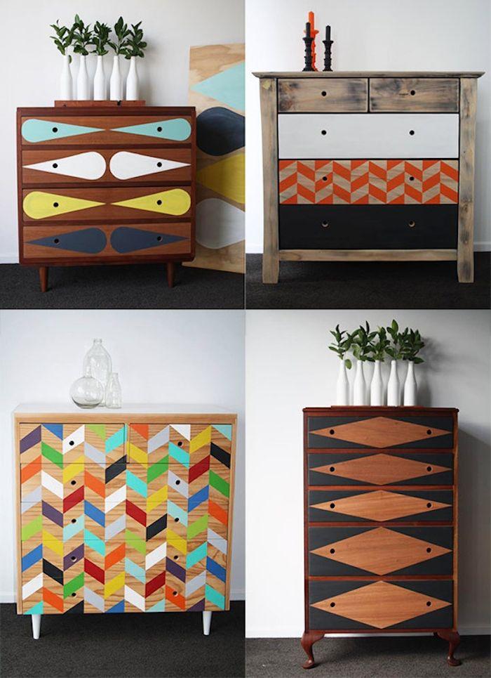 1001 id es comment peindre un meuble ancien comment peindre motif g om trique et relooker. Black Bedroom Furniture Sets. Home Design Ideas