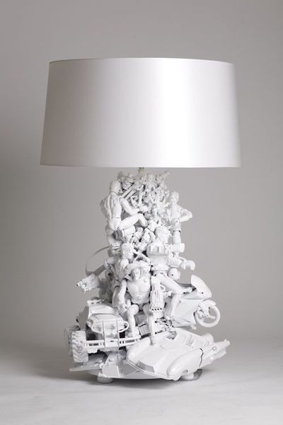 LAMP MADE OF OLD TOYS!! This would match the pic frame and toy lids