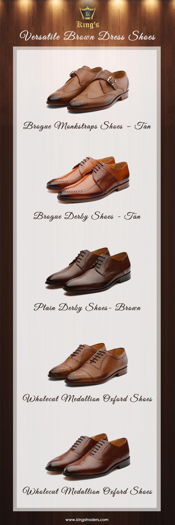 Brown dress shoes, Tan brogues