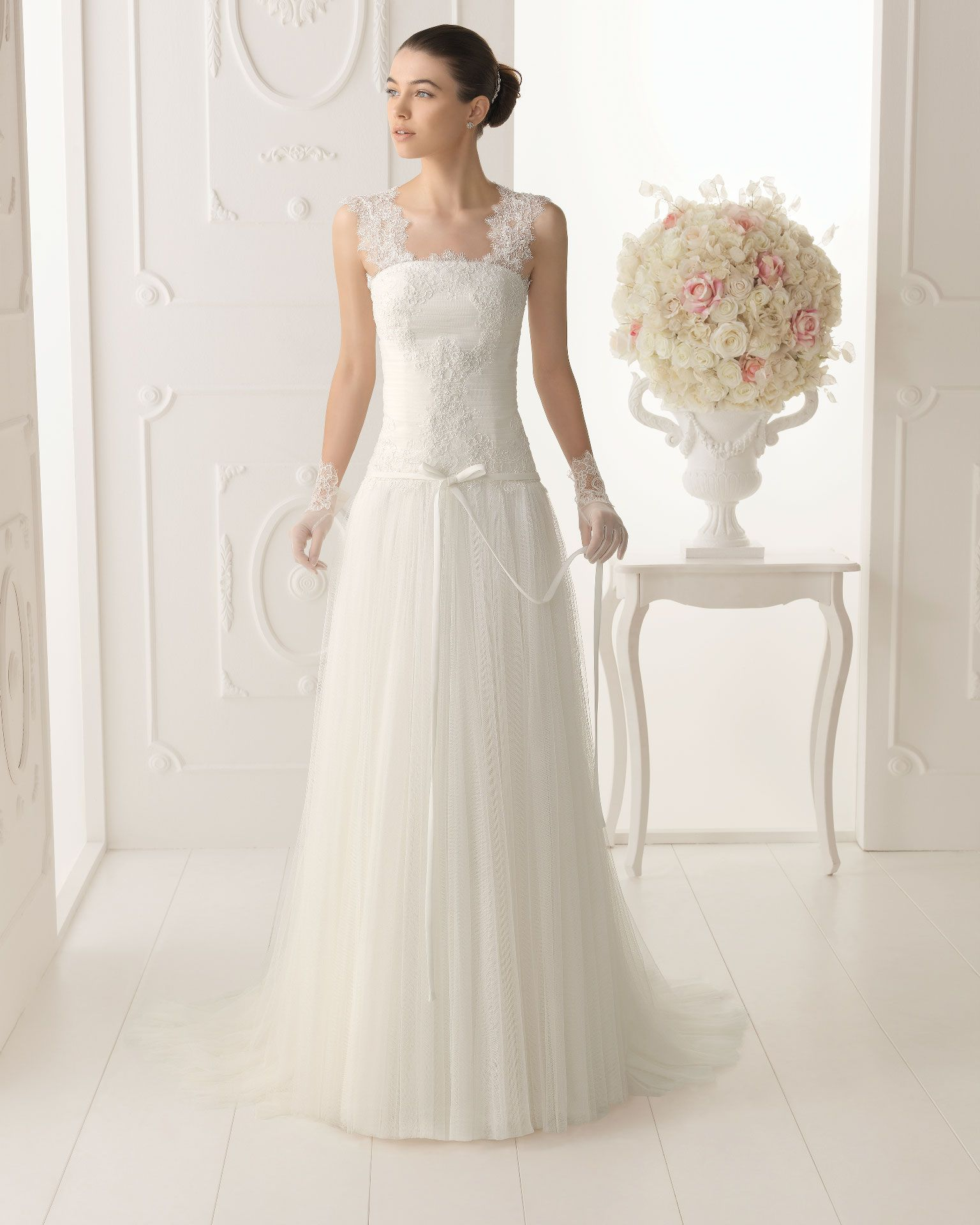 OBED - Lace dress with beading and soft tulle in a natural ...