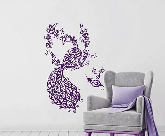 Peacock Wall Decals Peacock Wings Vinyl Sticker Bird Wall