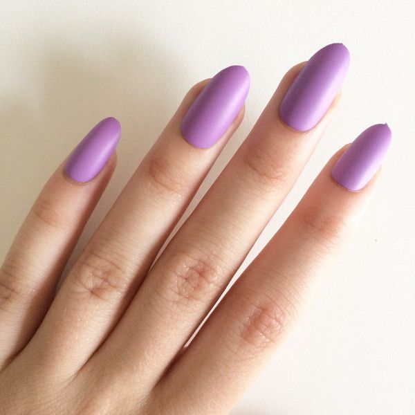 Matte Purple Oval Nails Hand Painted Acrylic Fake False 19 Liked On Polyvore Featuring Beauty Products Nail Care Treatments