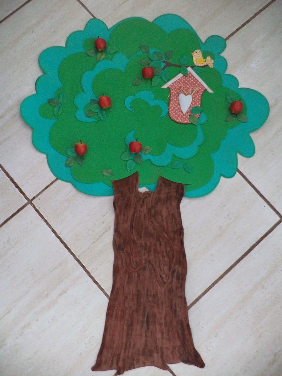 Painel Rvore Em Eva Br Ideal Para Decorar Sala De Aula Escola  -> Modelo De Painel Com Animais Facil De Fazer Em Eva Para Enfeitar Sala De Becario