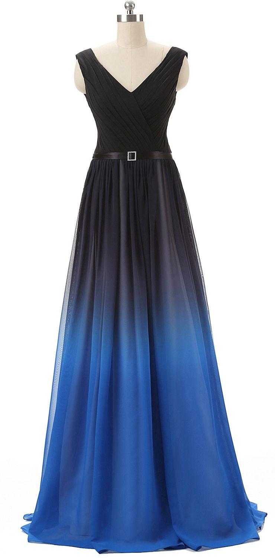 V Neckline Black And Blue Prom Dress Unique Bridesmaid ...