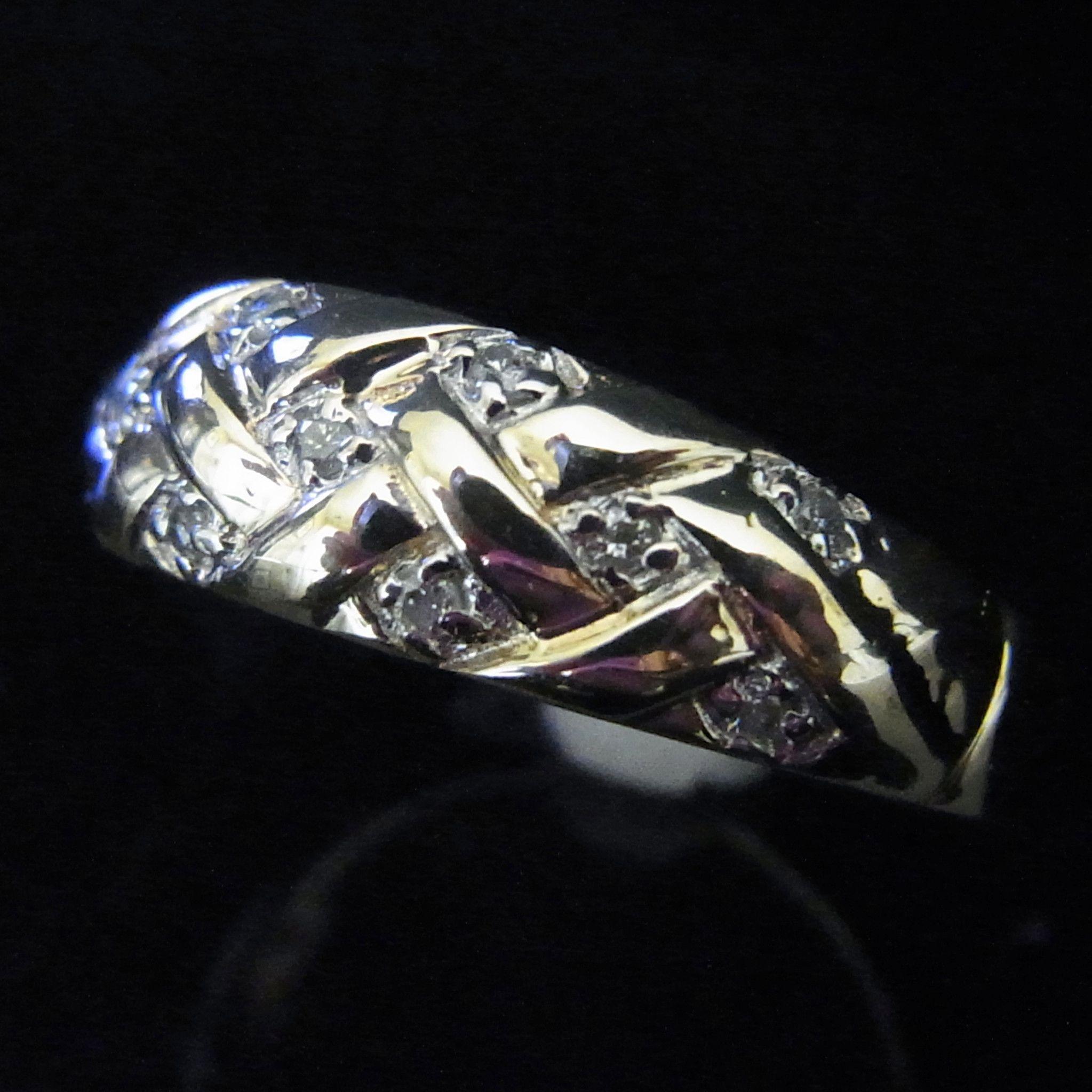 Vintage Diamond Textured Braided 10k Yellow Gold Wedding