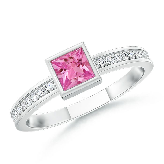 Angara Solitaire Bezel Square Pink Sapphire Promise Ring in Yellow Gold xndBo3Kp