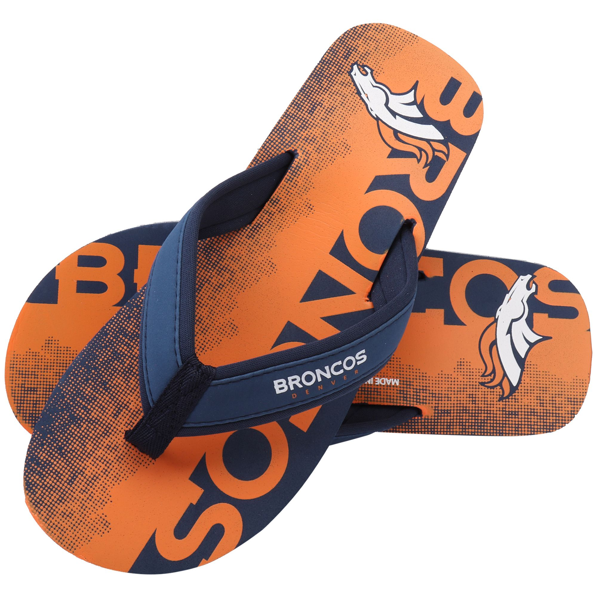 NFL Denver Broncos Contour Fade Wordmark Flip Flops  c01a97cd7