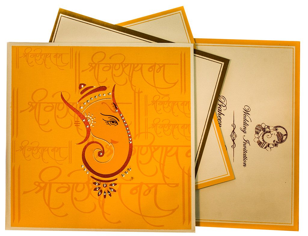 Hindu Wedding Card with Ganesha Image in Orange Handmade Paper ...