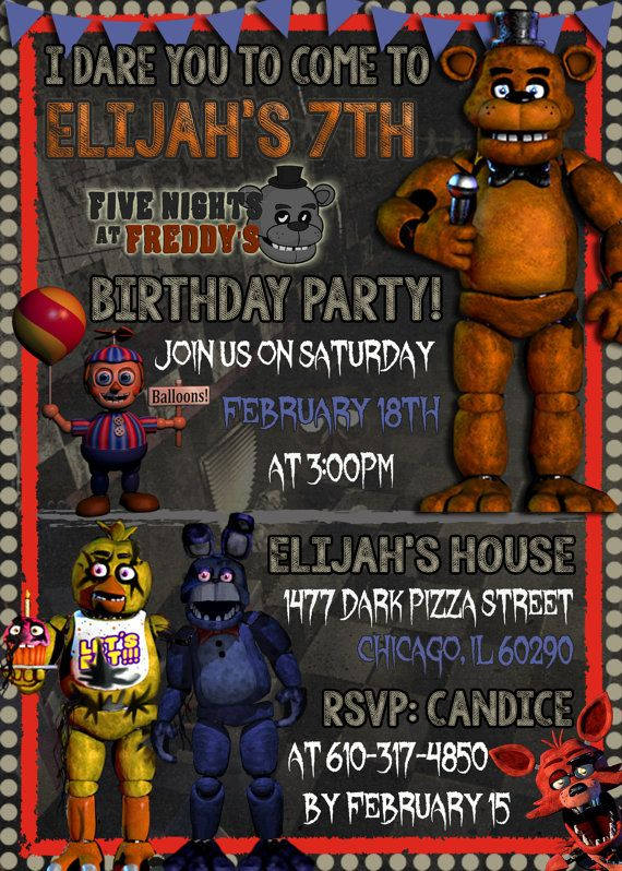 Five Nights At Freddys Invitation You Print