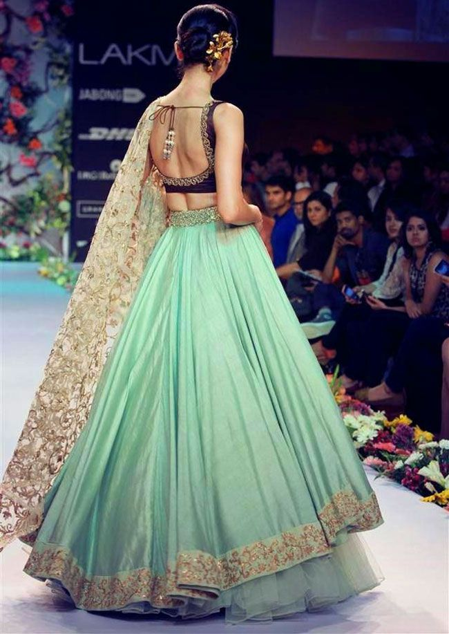 Sea Green And Golden Color Lehenga More