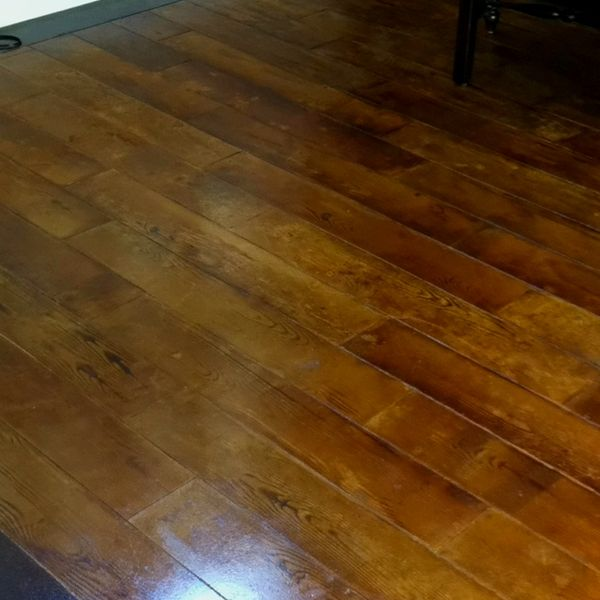 Concrete Floor Cut And Stained To Look Like Antique Wood