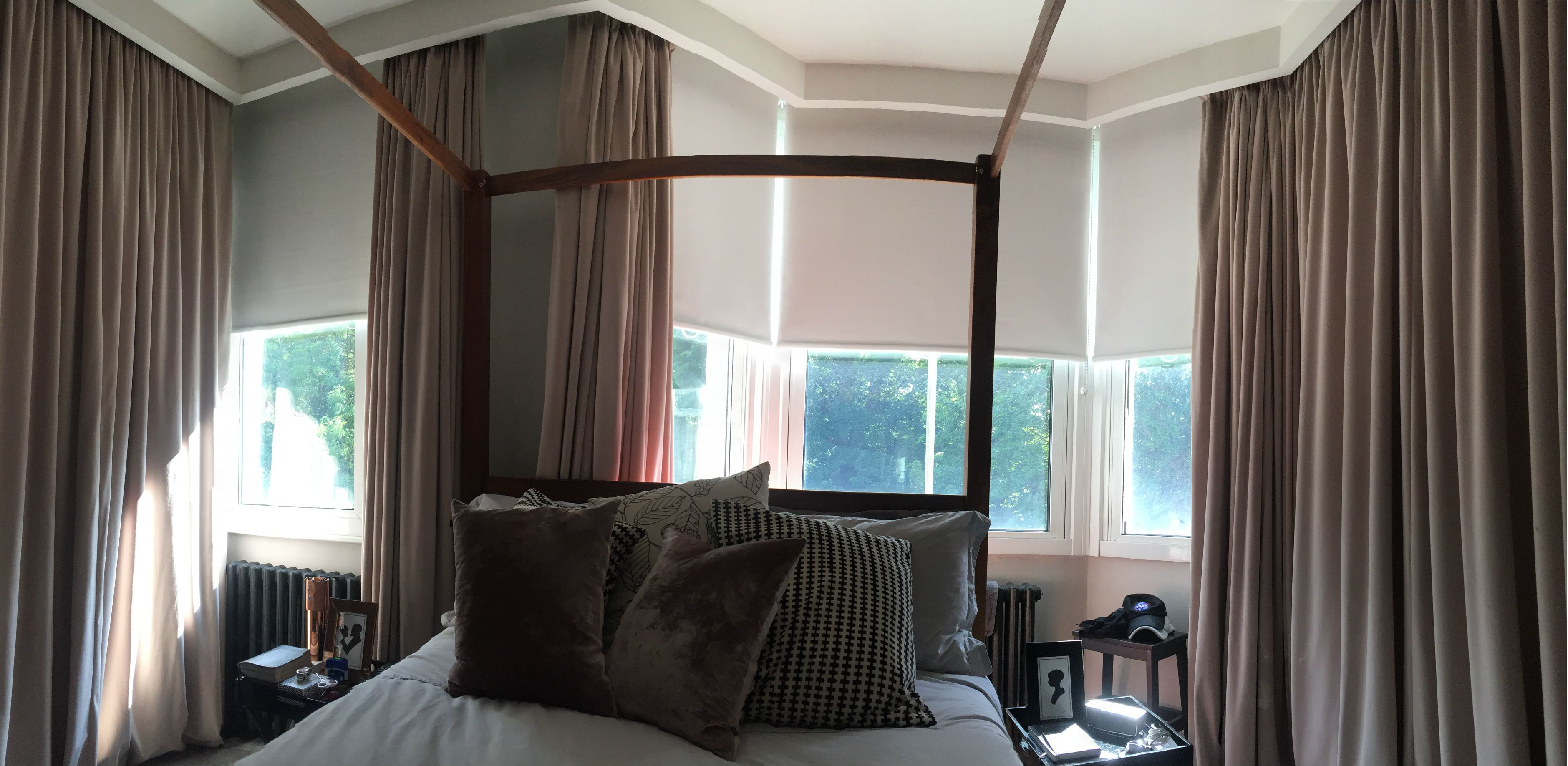 Blackout roller blinds with curtains for master bedroom