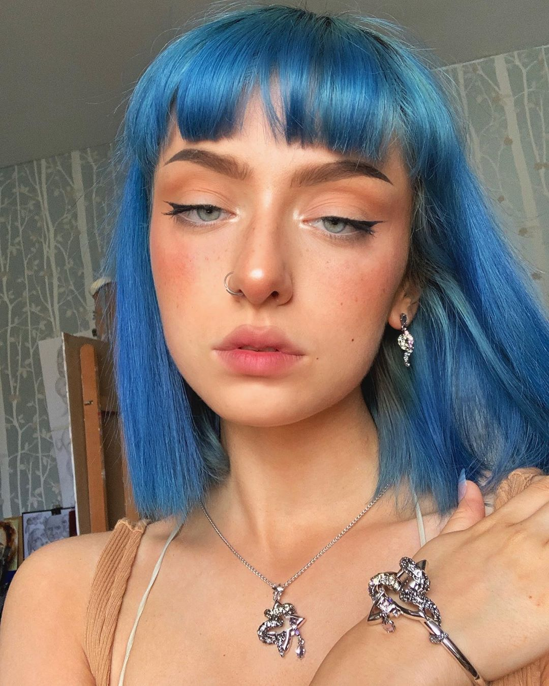 E V E On Instagram Feeling V Powerful In This Unique Jewellery Set From Allweareuk Awastyle Ad Aesthetic Hair Hair Inspo Color Short Blue Hair