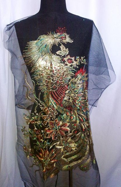 60*85 cm grote phoenix sequin borduren patch applique op zwart mesh doek als grondstof voor klassieke kleding diy