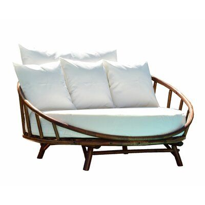 Olu Bamboo Large Round Patio Daybed, Large Round Cushions For Outdoor Furniture