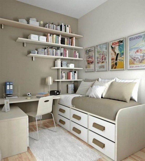 Wall mounted shelves bed with drawers storage ideas for ...