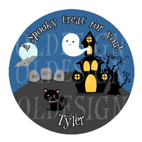 Halloween Stickers, Cupcake Topper, Tags, great for birthday partys. 2 Inch Circles.  Digital file