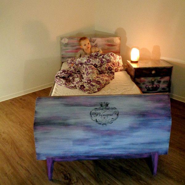 Kinderbetten VINTAGE Kinderzimmer Bett Kommode Princess