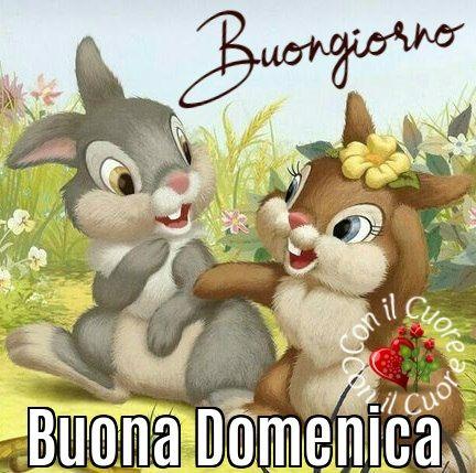 Buona domenica saluti e baci coniglietti bambi immagini disney