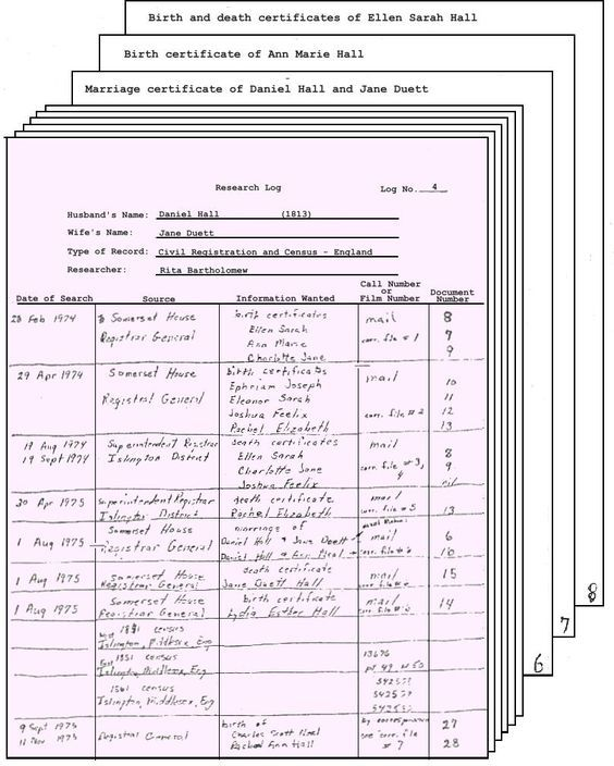 Entering a Documents File Number on the Research Log genealogy