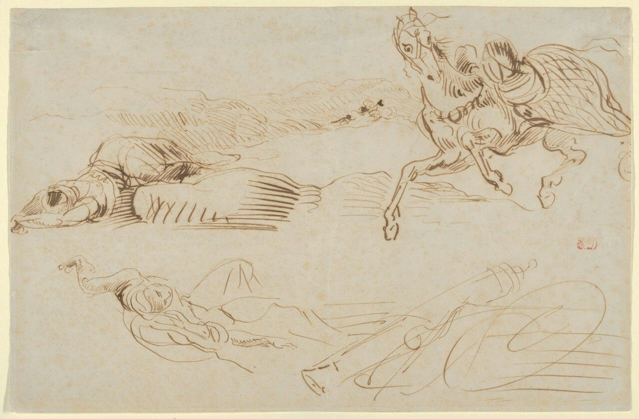 Eugène Delacroix (French, 1798-1863), Fallen Warriors and a Runaway Horse, c. 1863. Pen and brown ink on wove paper, 20 x 30.5 cm.