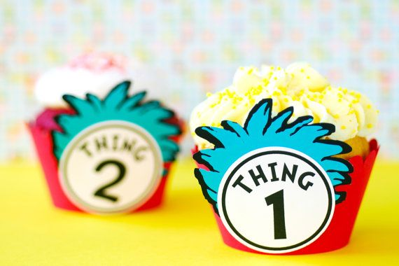 Thing 1 and Thing 2 Cupcake Wrappers...Set of 12