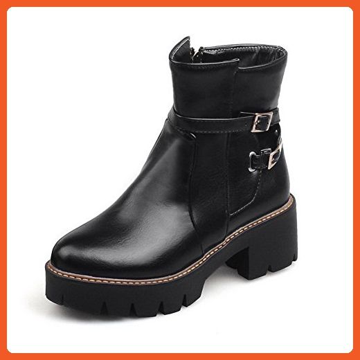 Women's Kitten-Heels Solid Round Closed Toe Soft Leather Zipper Boots