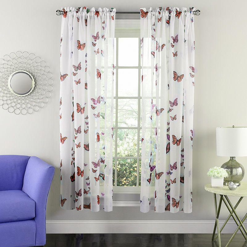 Semi Sheer Tailored Window Curtain Single Panel Butterflies Design Curtain Single Panel Curtains Panel Curtains