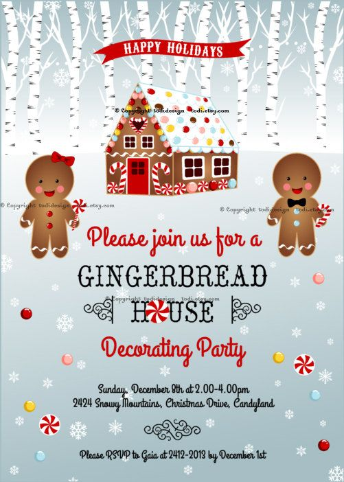 20 Gingerbread House Decorating Party Invitations – Gingerbread Party Invitations