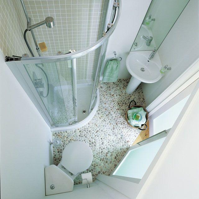 gestaltung ideen kleine bäder duschkabine ecke schiebetüren ...