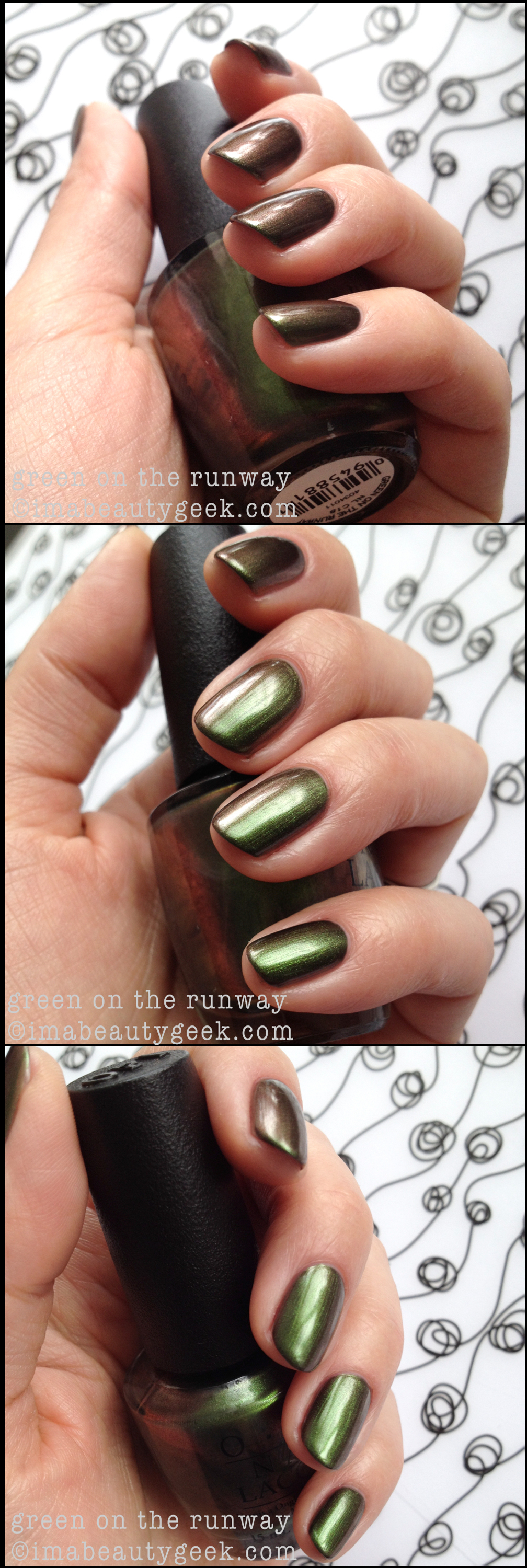OPI Green on the Runway duochrome. OPI Coca-Cola Collection Swatches @ imabeautygeek.com