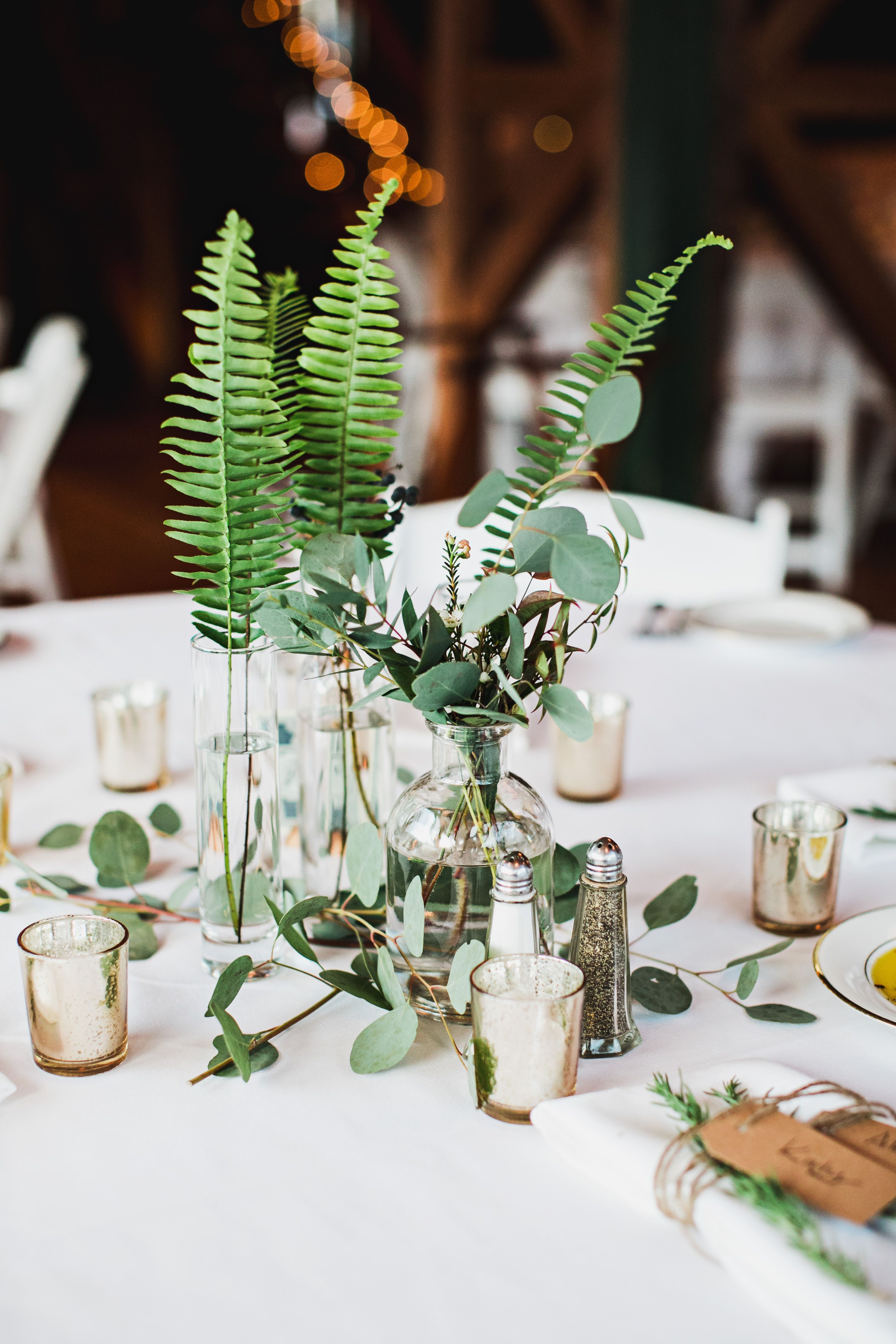 Candles & Greenery Centerpieces for this Winter Wedding