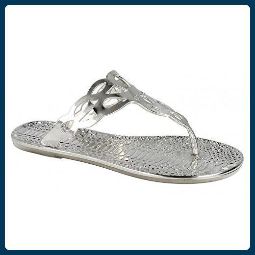 Spot On Damen Zehensteg Sandalen mit Krokomuster