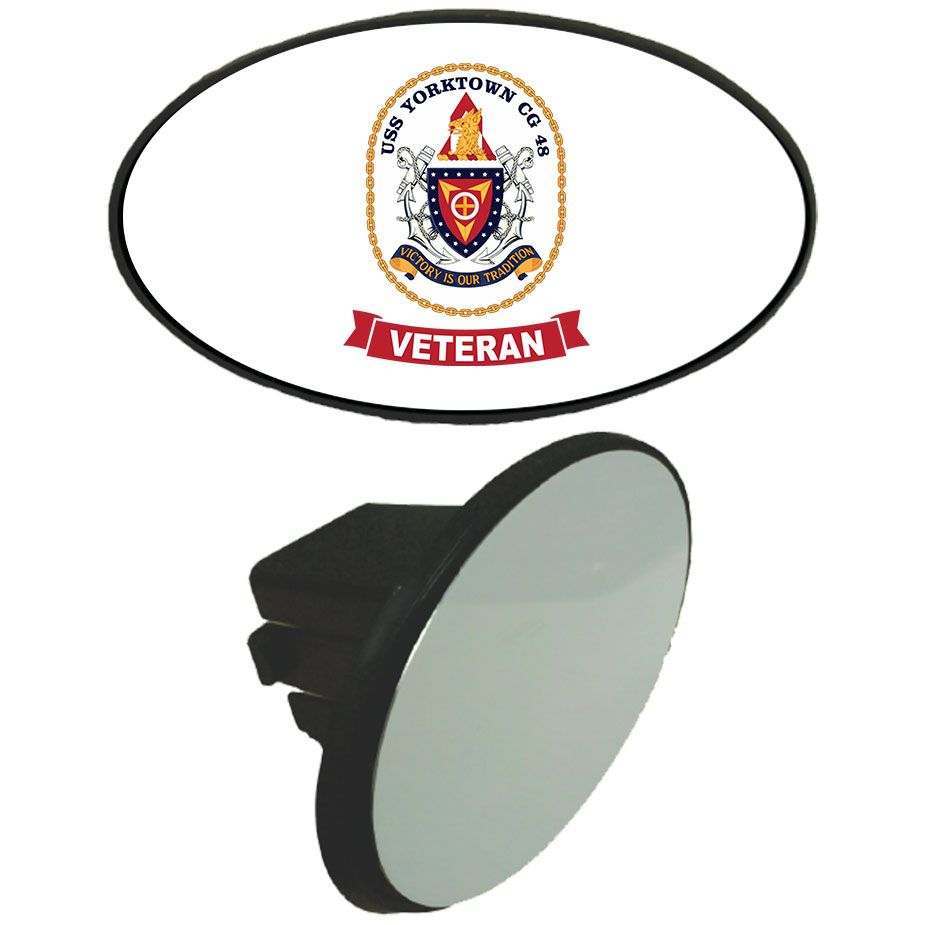 """USS Yorktown Veteran Tow Hitch Cover now available! These vibrant and sharp tow hitch covers look great on any vehicle. The plastic Injection-molded cover fits all 2"""" square receivers and is secured with an attached expandable hitch clip. The imagery itself is made to last outdoors as it is printed & pressed in South Carolina onto Aluminum Metal that is made in the USA."""