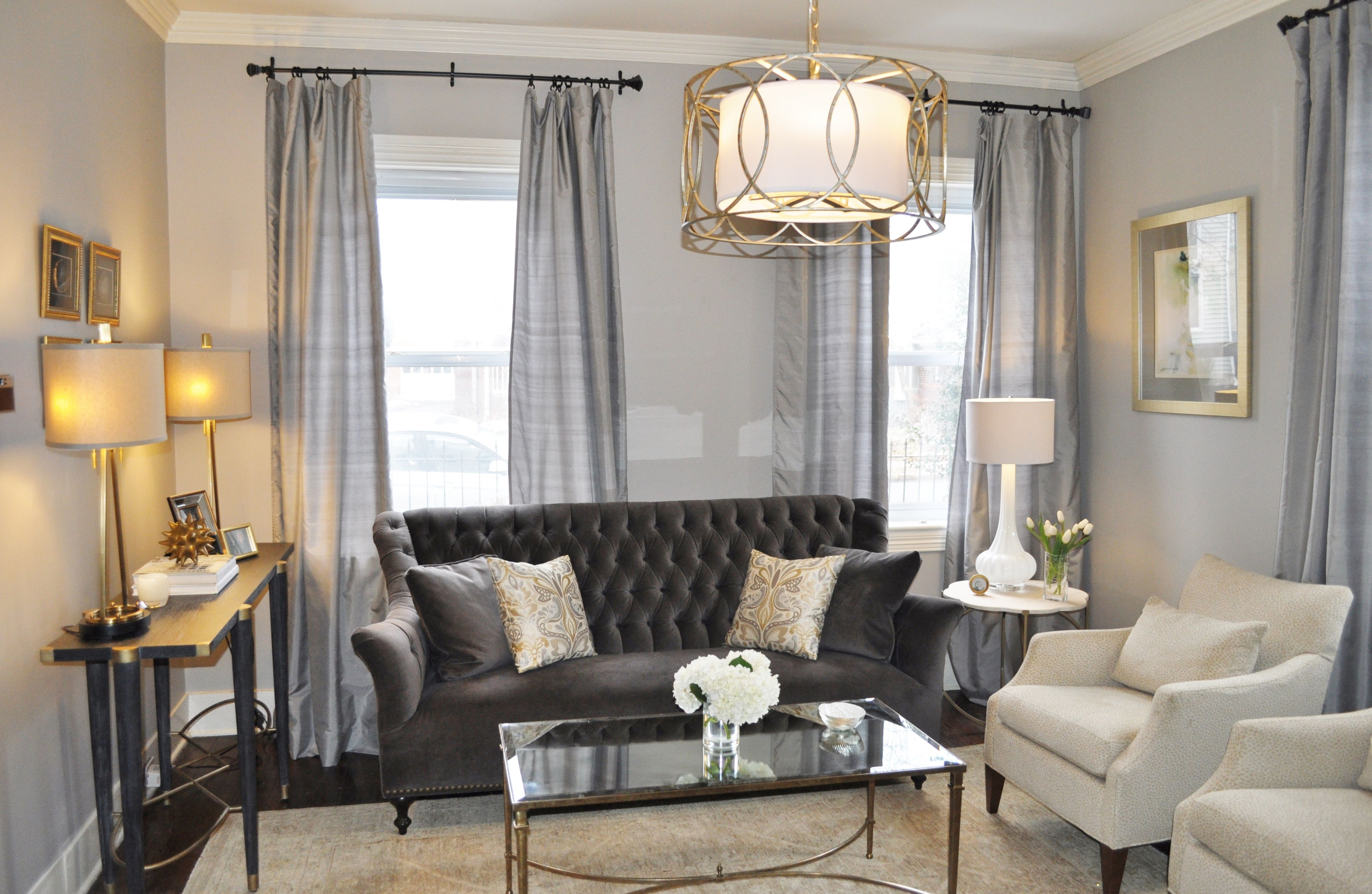 Elegant Traditional Living Room Gray Walls Charcoal Velvet Sofa Leopard Chairs Mirrored Table Tan Furniture Living Room Living Room Grey Velvet Living Room