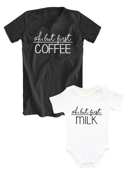b52fb8414 Ok But first Coffee Ok but first Milk tshirts, mother daughter shirts, mommy  and me shirts, future family clothes, funny family photoshoot ideas, ...