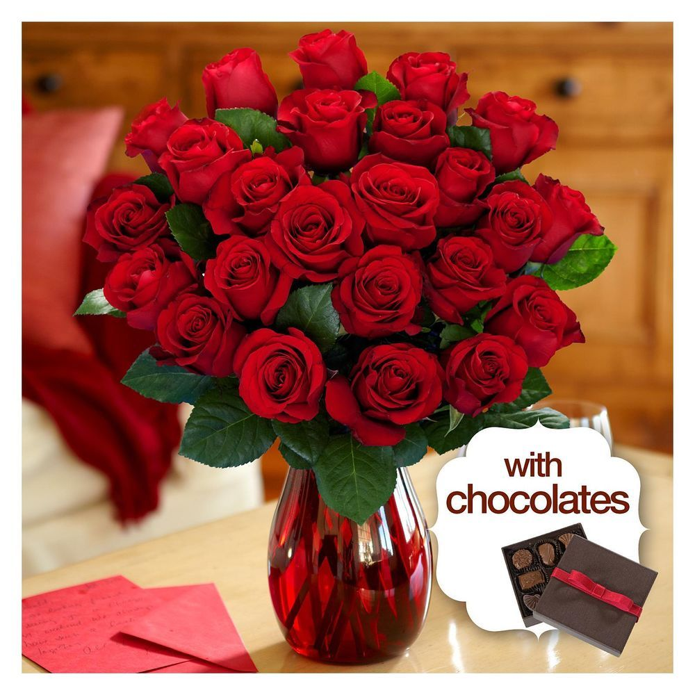 Two dozen red roses with elegant ruby vase chocolates two dozen red roses with elegant ruby vase chocolates proflowers reviewsmspy