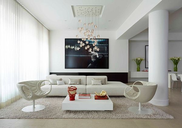 Minimalist White Living Room With Wooden Coffee Table