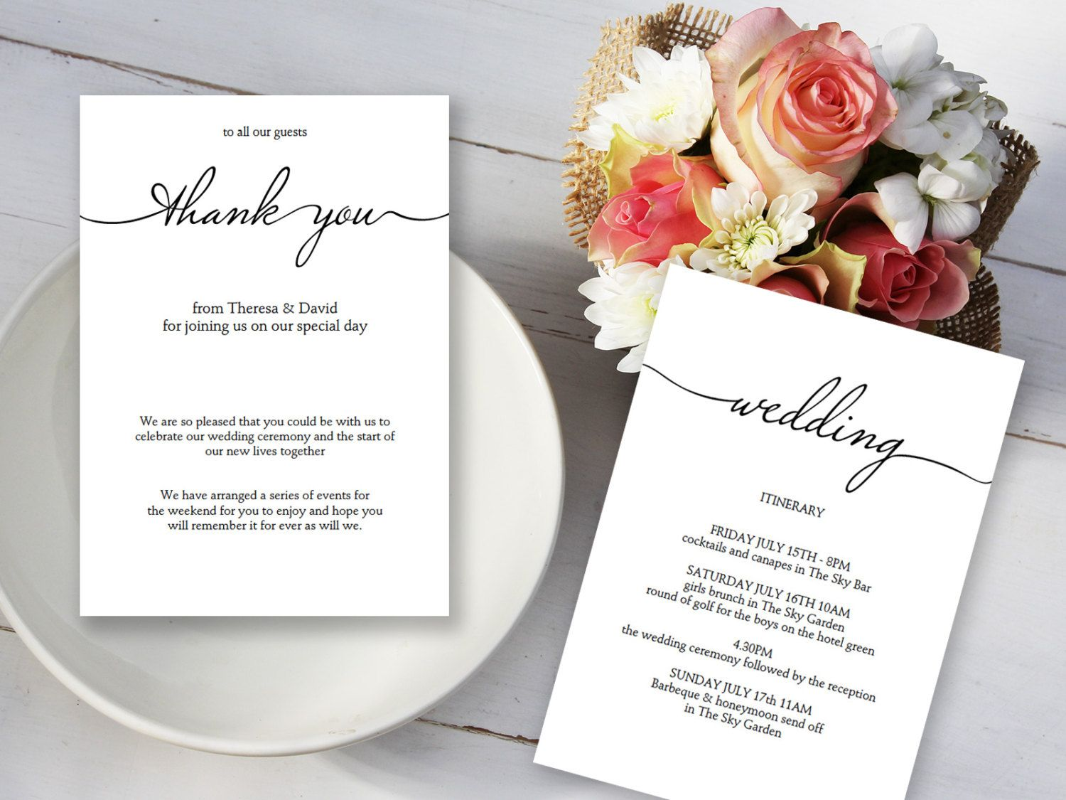 Wedding thank you itinerary template wedding itinerary for Wedding canape alternatives