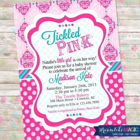 Tickled Pink Baby Shower Invite Baby Girl Shower Damask