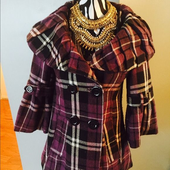 Purple Plaid Coat Open collar coat, sleeves are three quarter length. Button front. ASOS Jackets & Coats