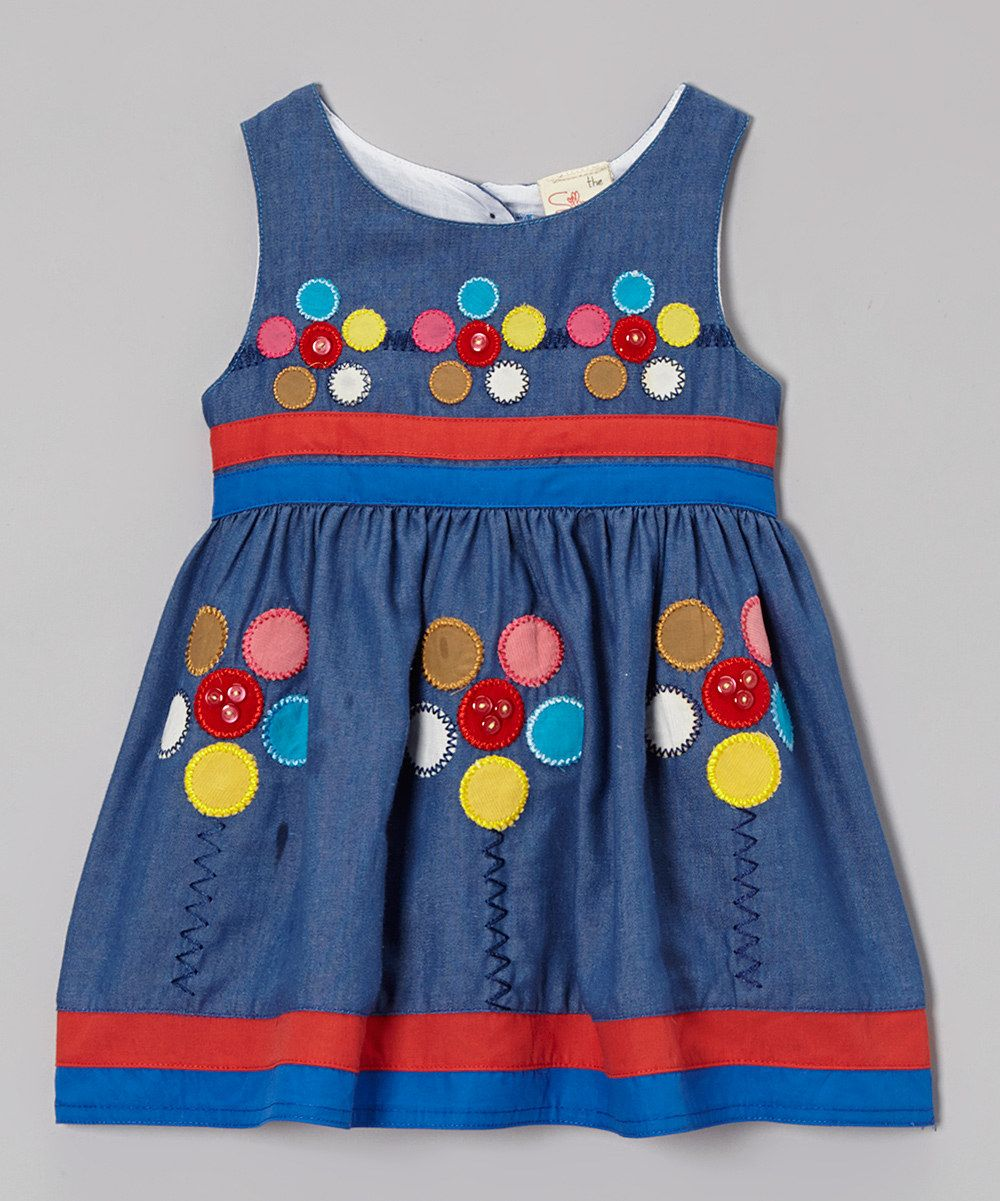 Look at this the Silly Sissy Denim Floral Appliqué Babydoll Dress - Infant, Toddler
