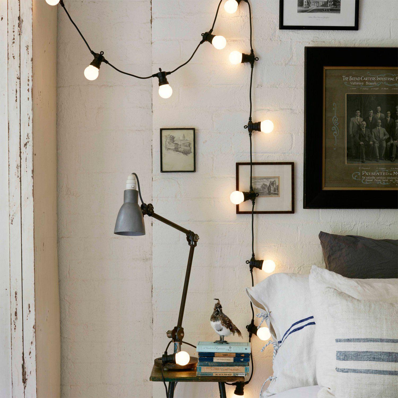 Guirlande Guinguette Raccordable avec 20 Globes LED Blanc Chaud