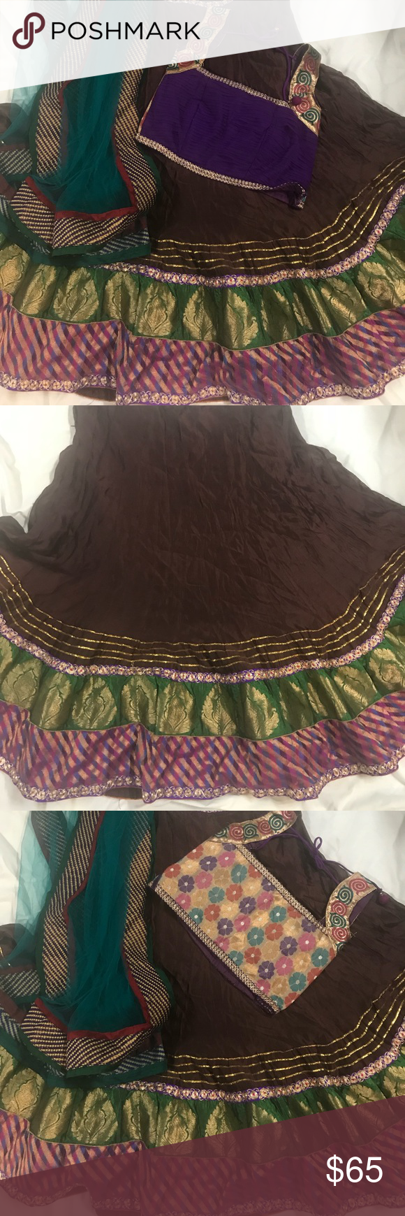 Chaniya choli size!!!36!!!! Beautiful color combination chaniya choli in size 36 ... for garba or any other occasion.sleeveless blouse with contrast design on the back.. Dresses Wedding #chaniyacholi