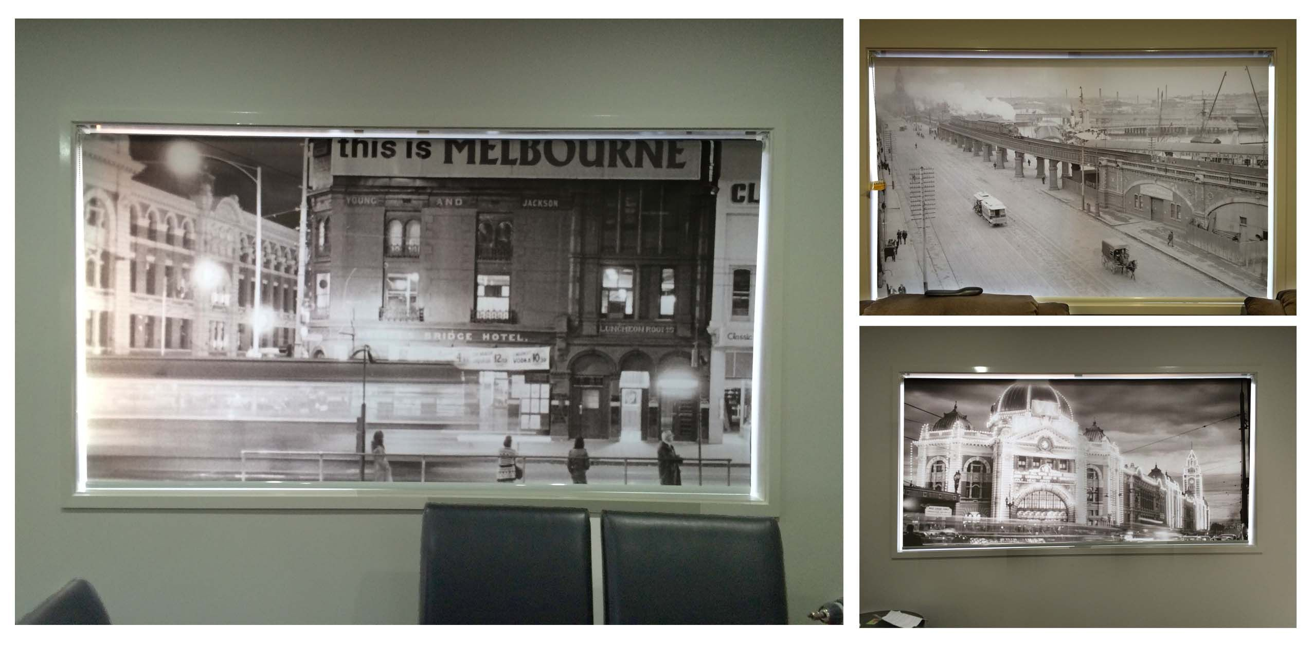 amazing black and white photos of melbourne street scenes look great printed on custom roller blinds