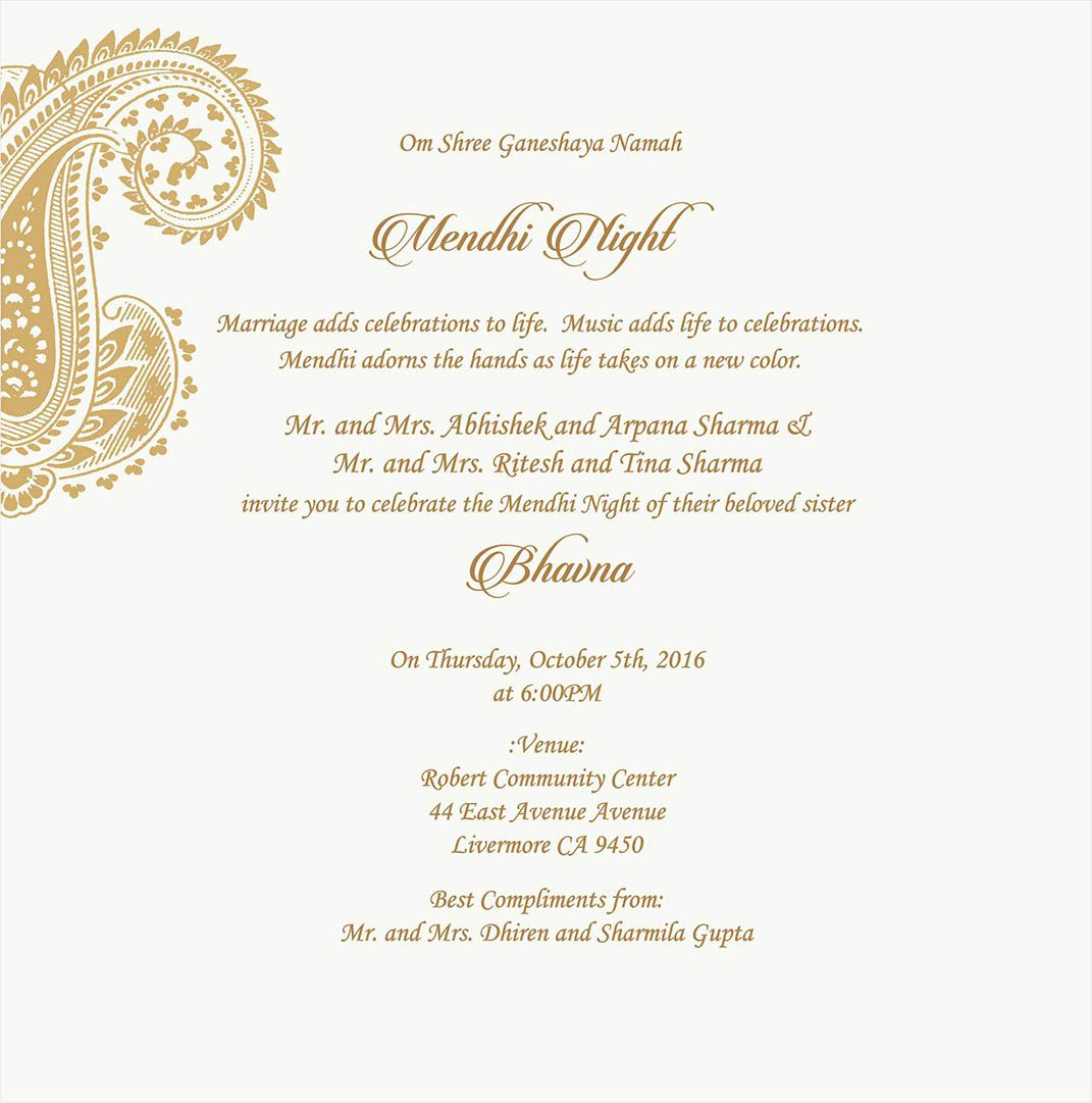 Wedding Invitation Wording For Mehndi Ceremony | Mehndi Ceremony ...