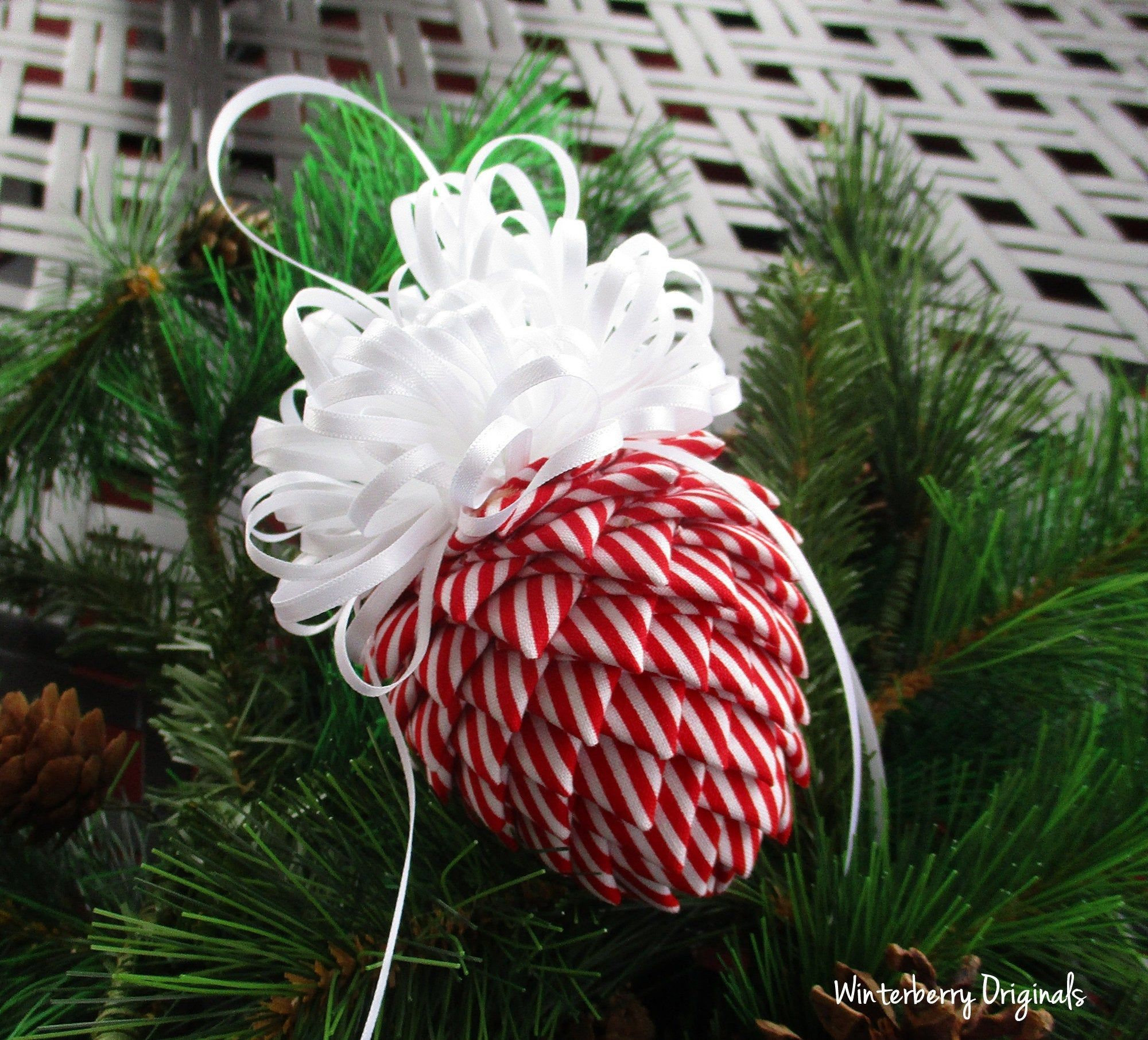 Fabric Pinecone Ornament Red And White Stripes With White Etsy Christmas Ornaments Pinecone Ornaments Ornament Exchange