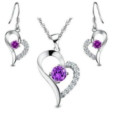 Rhodium Plated Purple CZ Heart Shape Set Earring and Pendant NecklaceIncluding Singapore Chain '18 inch 3D1PdmQ4