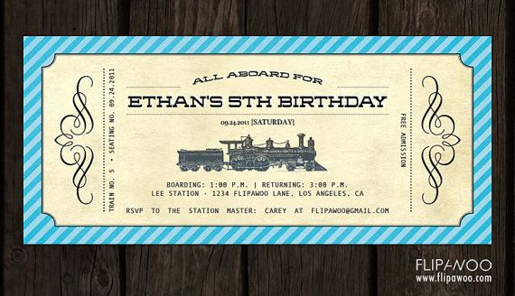Vintage Train Invitation Ticket Boarding Pass Style By Flipawoo